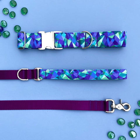 Spring 2020 - Blue and Purple Geode Dog Collar, Geode Collar