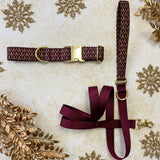 Burgundy and Gold Mod Geometric Dog Collar - All That Shimmers Mini-Collection