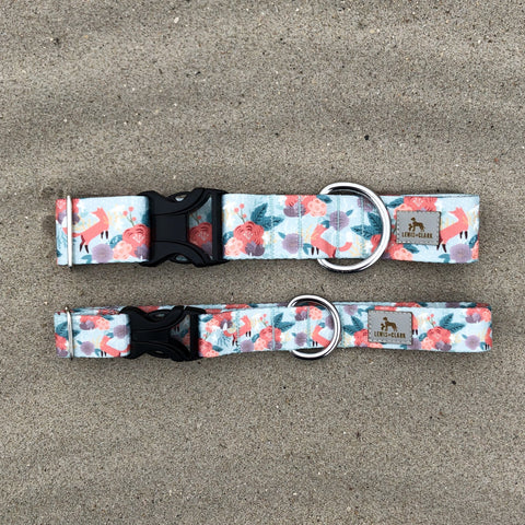 Morning Meadow - Fox Camping Dog Collar, Lake Life Water Resistant Dog Collar