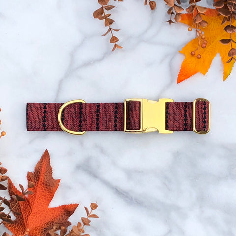 Cozy Red Sweater Geometric Dog Collar - Fall 2019