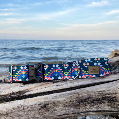 Mountain Top Mosaic: Lake Life Dog Collar, Water Resistant Dog Collar, Outdoor Adventure Dog Collar