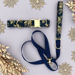 Blue and Gold Floral Rifle Paper Co Dog Collar - All That Shimmers Mini-Collection
