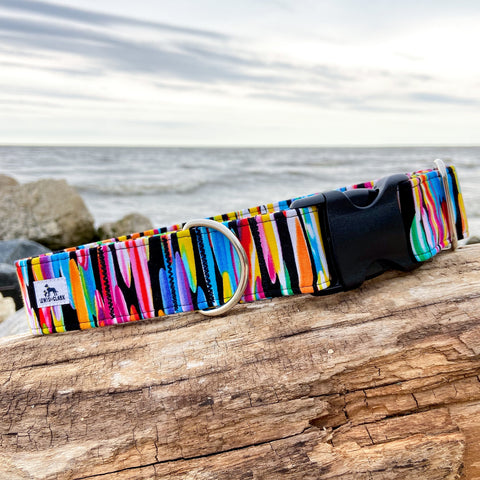 Summer 2020 Collection: Watercolour surf boards. dog collar, Summer Dog Collar