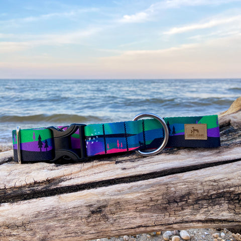 Northern Lights and Starry Nights Dog Collar - Lake Life Dog Collar, Water Resistant Dog Collar
