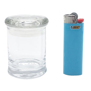 Clear Glass Plain Stash Jar 90ml Container 1/8 oz Jar - Tetra Meds