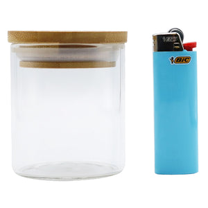 Premium Glass Stash Jar with Pop Top Bamboo Lid - 5 oz - Tetra Meds