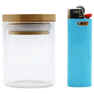 Premium Glass Stash Jar with Pop Top Bamboo Lid - 2.5 oz - Tetra Meds