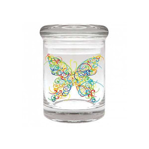 Butterfly Glass Stash Jar 90ml Container 1/8 oz Jar - Tetra Meds