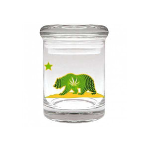 California Bear Glass Stash Jar 90ml Container 1/8 oz Jar - Tetra Meds