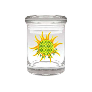 Flower of Life Glass Stash Jar 90ml Container 1/8 oz Jar - Tetra Meds