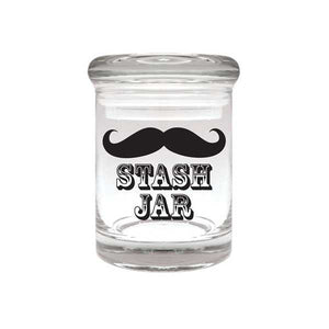 Moustache Glass Stash Jar 90ml Container 1/8 oz Jar - Tetra Meds