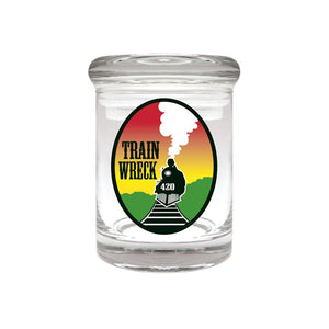 Train Wreck Glass Stash Jar 1