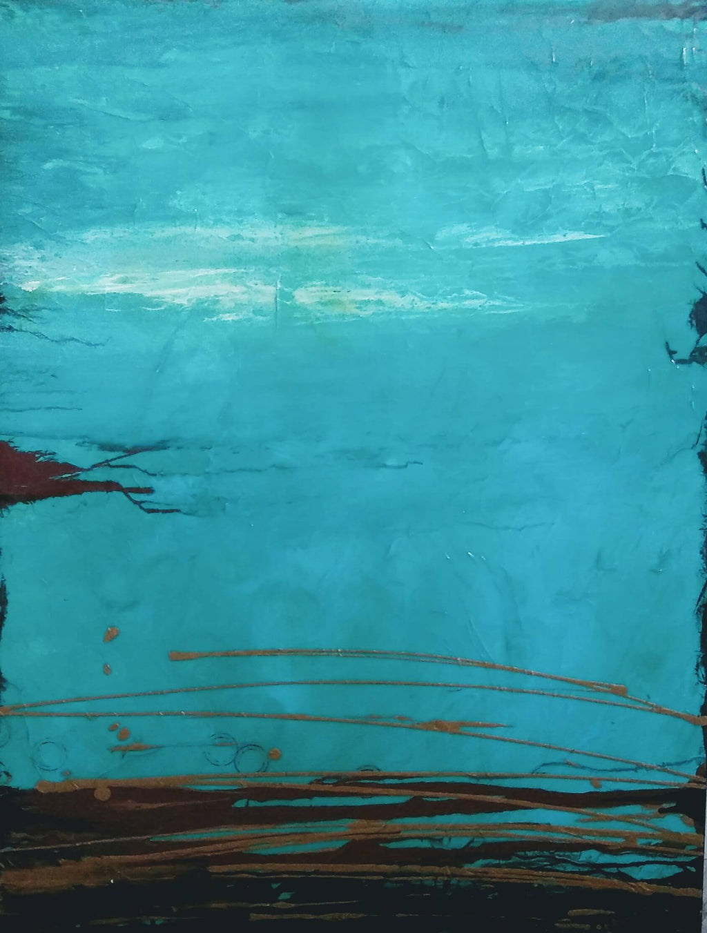 """Coastal Tranquility"" Turquoise and Gold Abstract Painting"