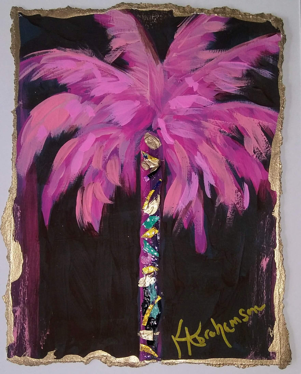 """Coconut Beach"" Pink Palm Tree Painting 2020 no. 56"