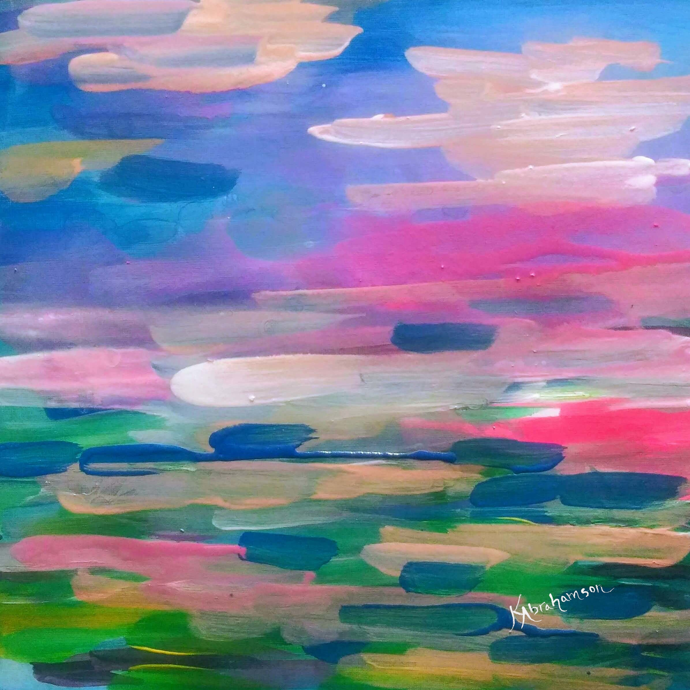 """Eternal Pink Sunset"" Abstract Painting"