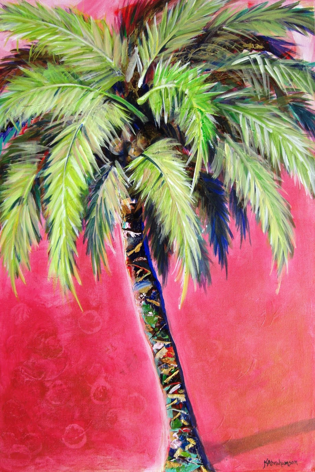 """Blushing Pink Palm Tree Painting"""
