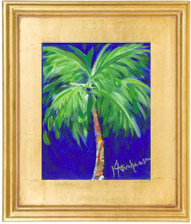 """Bold Blue Palm"" Painting 8x10 Framed"