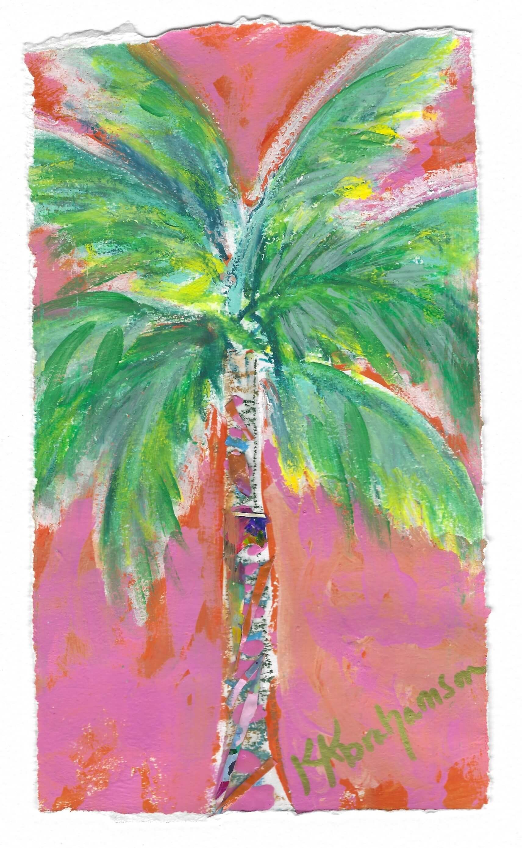 Carnival Palm Tree painting on paper 5x9""
