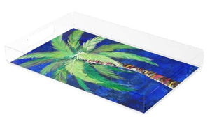 Acrylic Tray- featuring Cobalt Blue Palm Tree Rectangular Tray