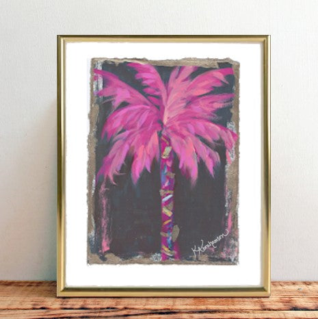 """Coconut Beach"" Pink Palm Tree Painting 2020 no. 55"