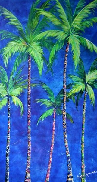 """Colorful Family of Five Palms"""
