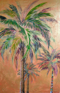 """Copper Trio Palm Tree Painting"""