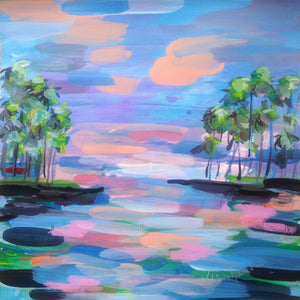 """Eternal Sunset Cluster of Palms 1"" Painting"