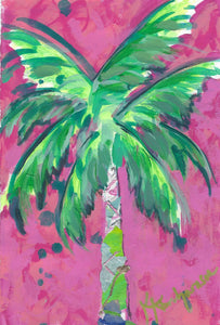 Pink Lily Palm on Paper 6x9""