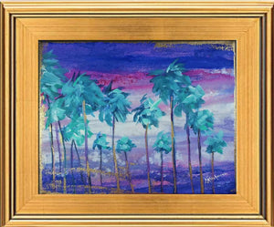"""Peaceful Purple Sunset Cluster of Palms"" Painting 8x10 Framed"