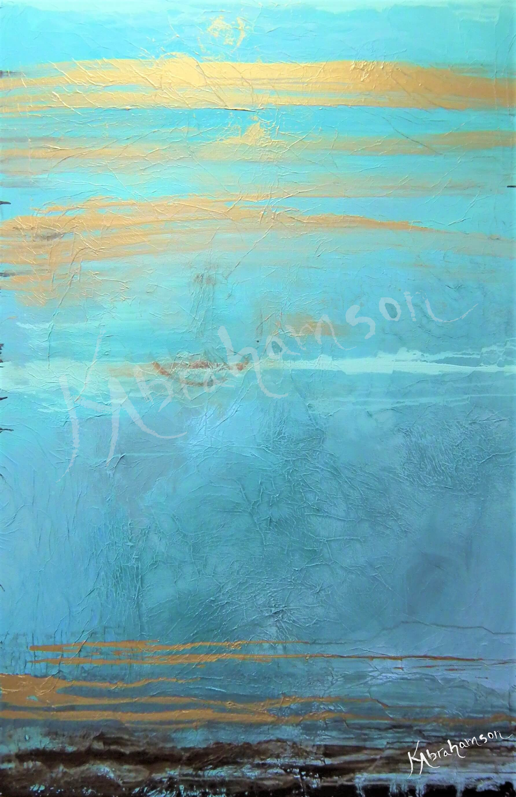 """Phenomenal"" Turquoise and Gold Abstract Painting"