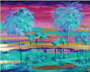 """Pink Peak Sunset Cluster of Palms"" Painting 8x10"