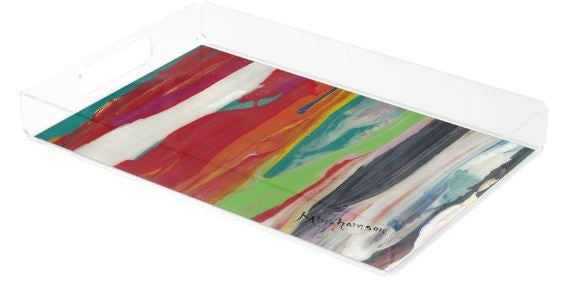 Acrylic Tray- featuring Raining Rainbows Abstract 201201 vertical