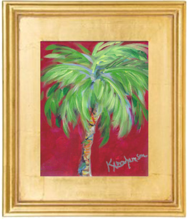 """Bright Red Palm"" Painting 8x10 Framed"