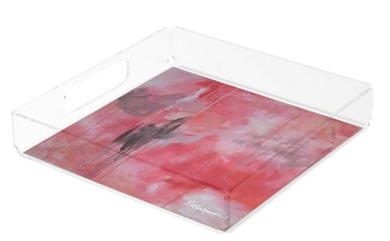 Square Acrylic Tray- featuring Tickled Pink Abstract 1