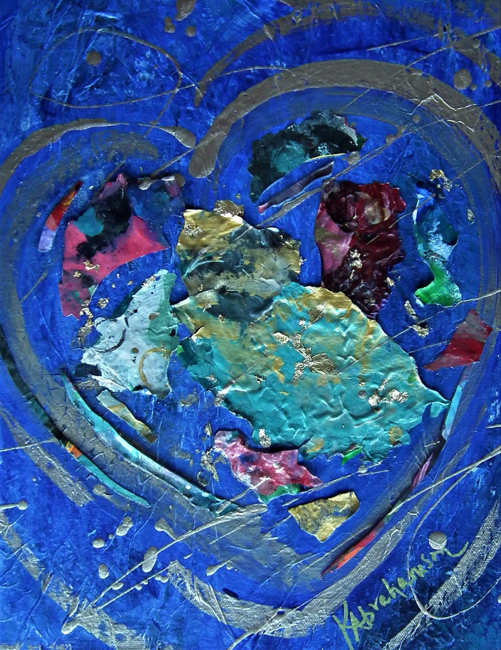 "Abstract Heart Painting 11x14"" #49"