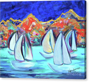 Breezy Bay Sailboats - Canvas Print