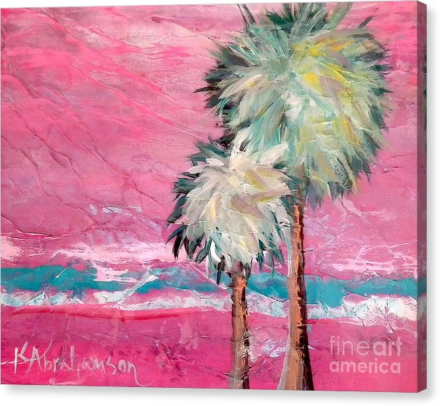 Pink Horizon Palms - Canvas Print