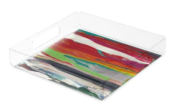 Square Acrylic Tray- featuring Raining Rainbows Abstract 201201