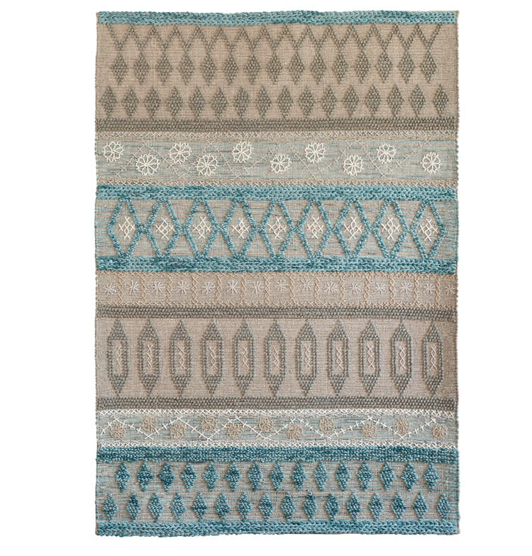 Wool handmade Living room Carpet Geometric Indian Rug plaid striped Modern Parlor Bohemia design Kilim Nordic blue grey
