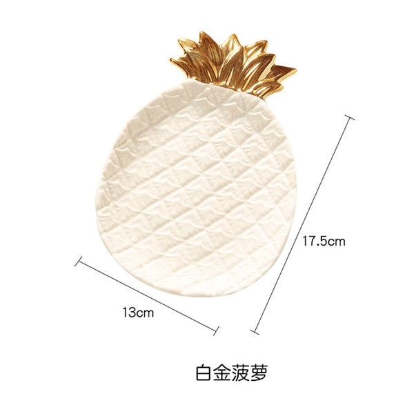 Decorative Gold Pineapple Leaf Ceramic Plate Dish Porcelain Candy Trinket Dish Jewelry Storage Plate Crockery Tableware