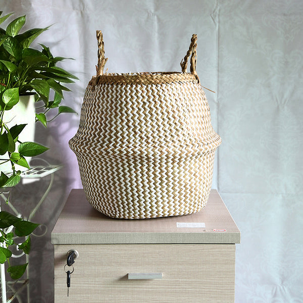 WHISM Seagrass Storage Basket Flower Pot Natural Rattan Basket Plant Pot Toys Holder Laundry Basket Container Home Decoration