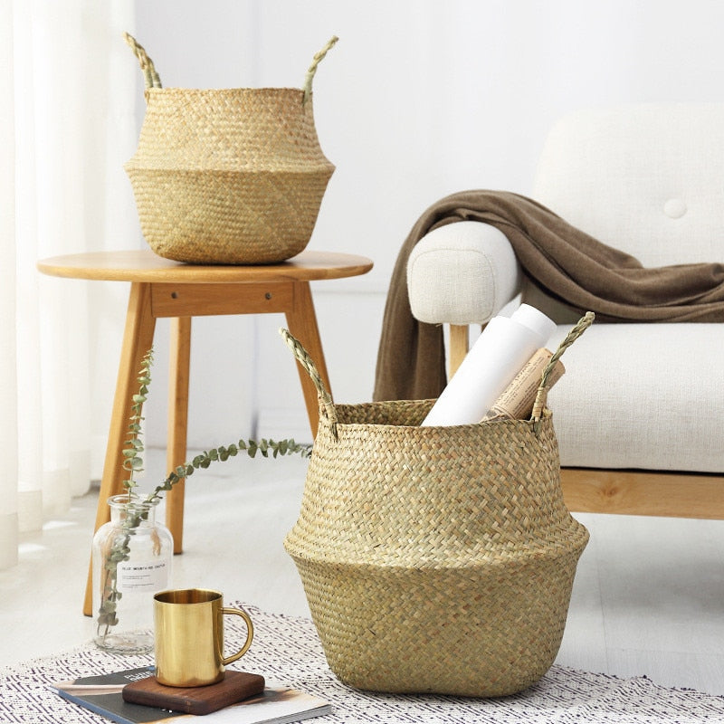 Hot Household Foldable Natural Seagrass Woven Storage Pot Garden Flower Vase Hanging Basket With Handle Storage Bellied Basket