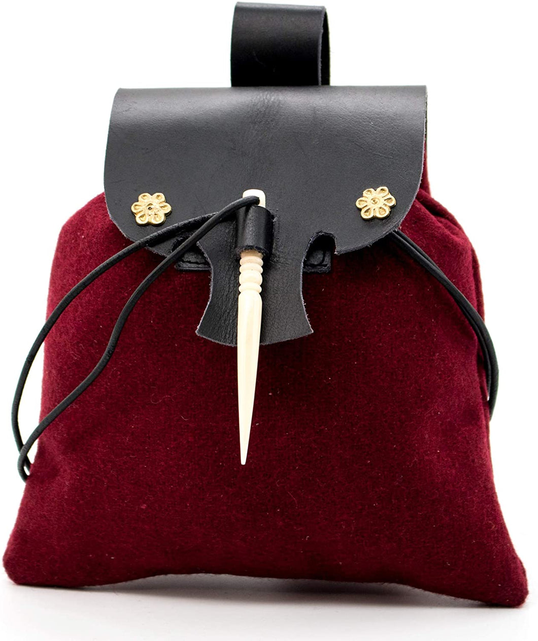 Mythrojan Medieval Small Leather Belt Pouch LARP Renaissance Waist Bag- Maroon & Black