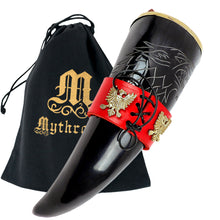 Load image into Gallery viewer, Mythrojan The King of The North - Viking Drinking Horn with Leather Holder - Polished Finish - 300 ML / With Red Leather Holder
