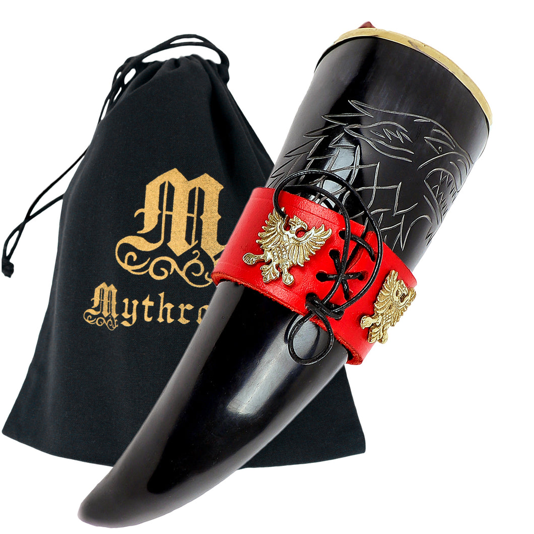 Mythrojan The King of The North - Viking Drinking Horn with Leather Holder - Polished Finish - 300 ML / With Red Leather Holder