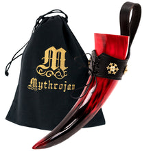 Load image into Gallery viewer, Mythrojan The Red Witch Viking Drinking Horn with Leather holder Authentic Medieval Inspired Viking Wine/Mead Mug – Polished Finish