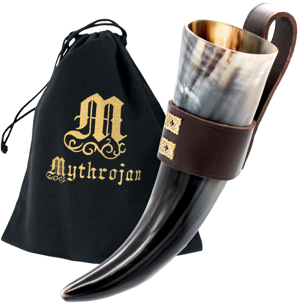 Mythrojan THE WEALTHY MERCHANT - Viking Drinking Horn with Leather holder Authentic Medieval Inspired Viking Wine/Mead Mug - Polished Finish - 250 ML / Brown