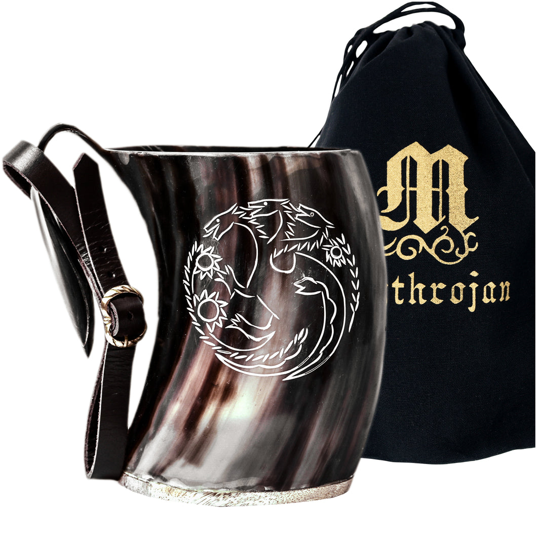 Mythrojan Tumbler Viking Drinking Cup with Handle & Medieval Buckle Renaissance with leather strap - 600 ML / Dragon