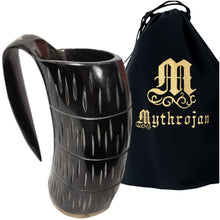 Load image into Gallery viewer, Mythrojan Viking Drinking Tankard with Medieval Buckle Leather Strap Wine Beer Mead Mug 800 ML - Polished Finish
