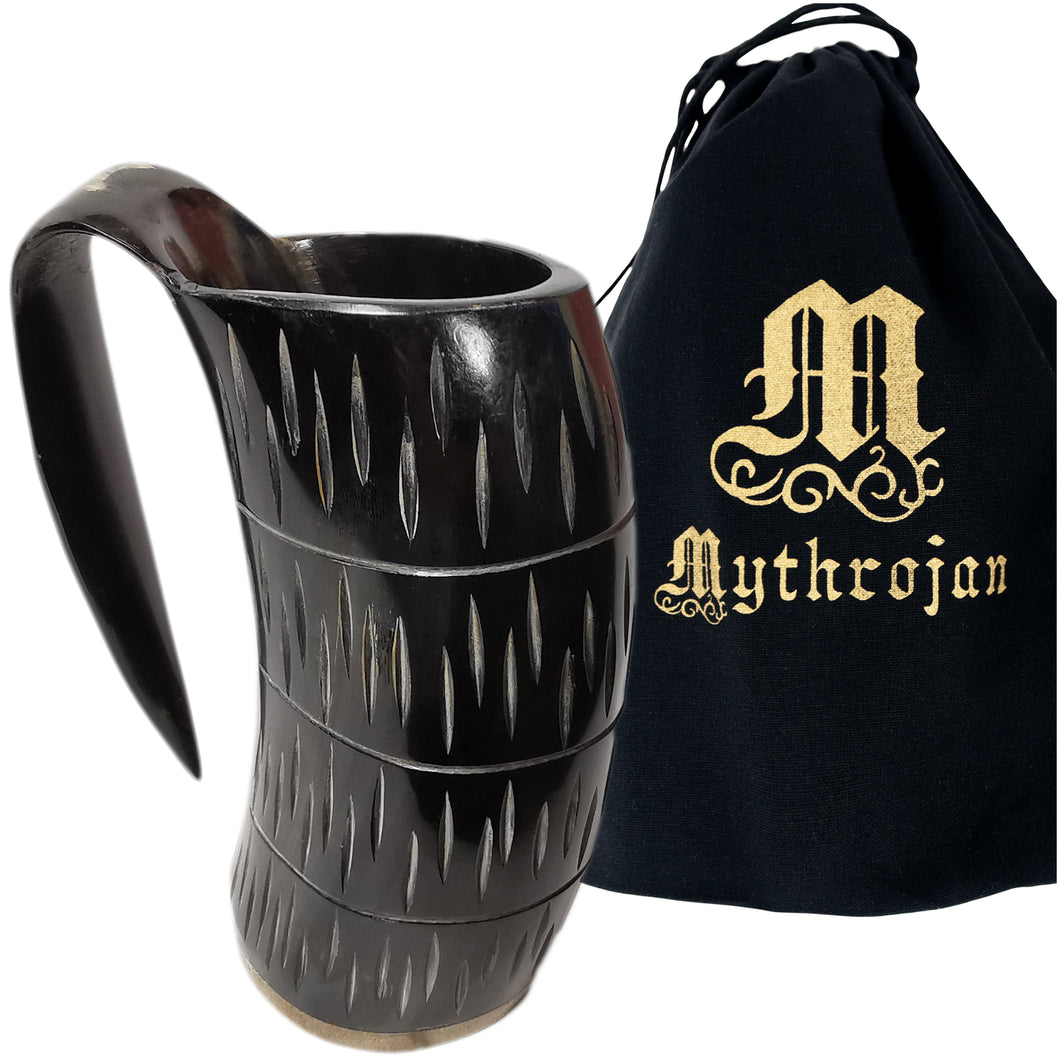 Mythrojan Viking Drinking Tankard with Medieval Buckle Leather Strap Wine Beer Mead Mug 800 ML - Polished Finish